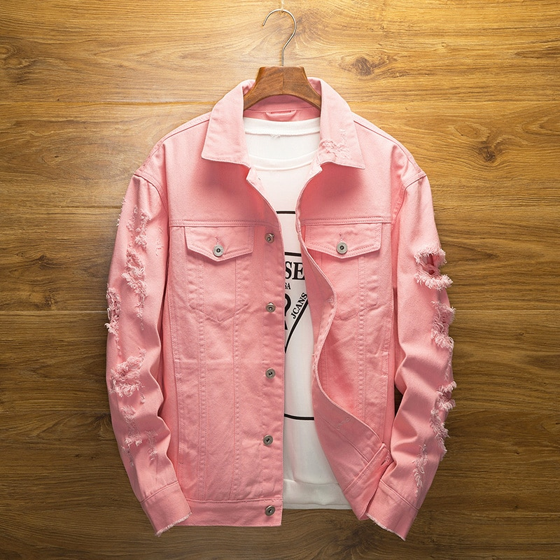 Men Pink Denim jackets Outerwear Jean Coats New Spring Autumn Men Holes Jena Jackets Men Slim Denim Jackets Size 3XL