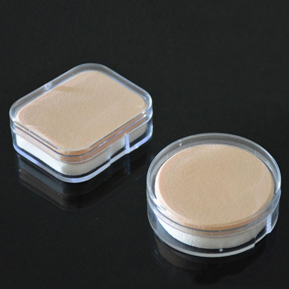 1 pçs mini transparente quadrado redondo maquiagem cosméticos caixa de sopro bb creme em pó caso de armazenamento compõem titular ferramentas beleza presentes