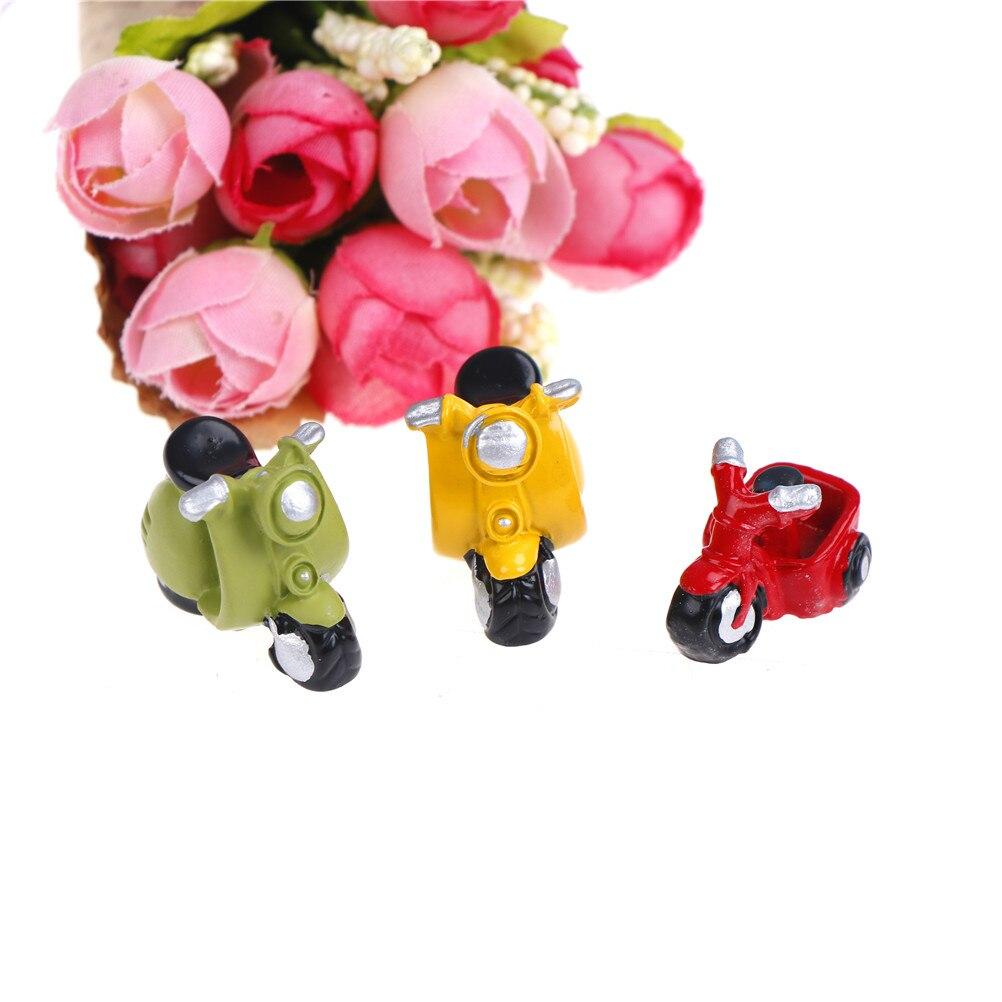 1 casa de muñecas Miniture, manualidades de hadas para motocicleta, microadornos para paisajismo, triciclo de resina en miniatura para decoración de jardín