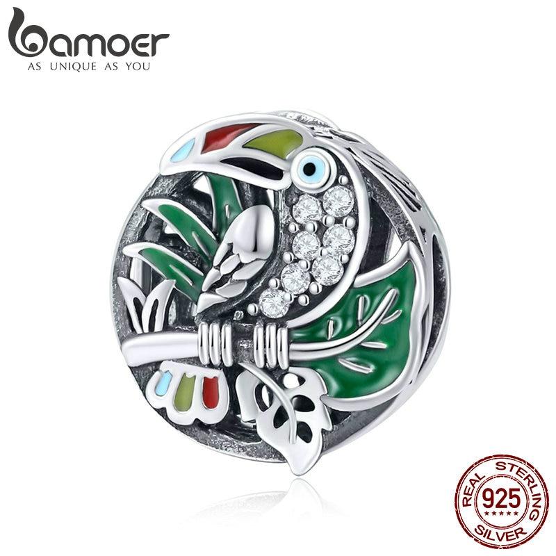 BAMOER Neue 925 Sterling Silber Bunte CZ Schöne Toucan Vogel Charme Perlen Fit Charme Armbänder & Halsketten DIY Schmuck SCC853