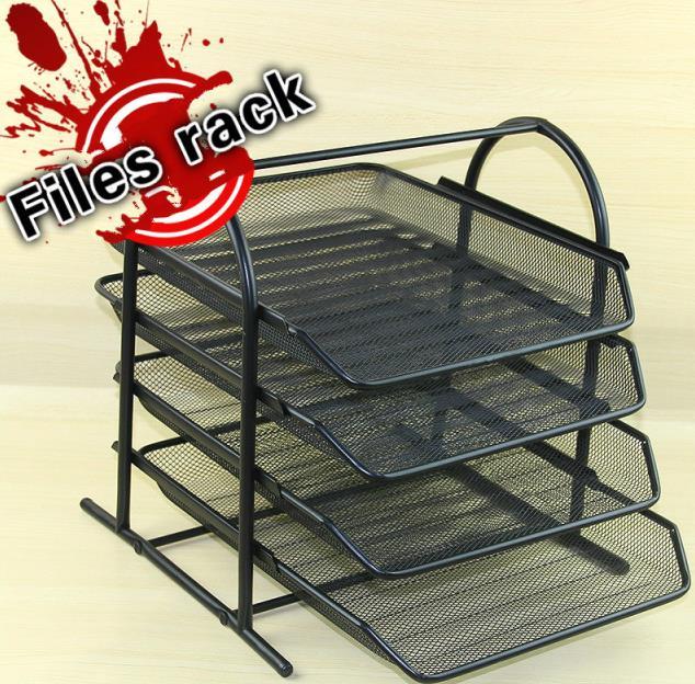 Multi-couche trier cadre métal fer maille 4 couche A4 bureau fichiers rack documents plateaux stockage cadre fournitures de bureau