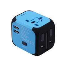 Nuevo Adaptador de Viaje Universal Enchufes Eléctricos Enchufes Convertidor EE. UU./AU/UK/EU con Doble Carga USB 2.4A LED Indicador De Alimentación