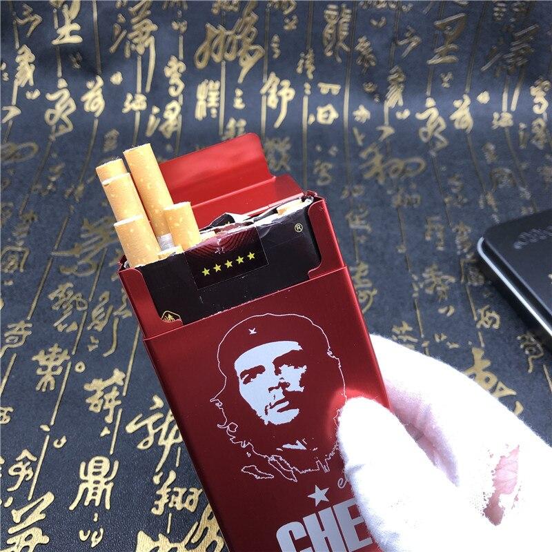 DIY Che Guevara портсигар металл с лазерной гравировкой коробки для сигарет мужские карманные курительные автоматические коробки красный черный золотой синий