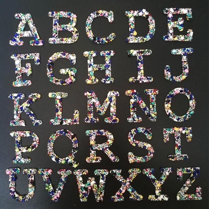 Moda 5cm Color piedra Rhinestone letras en inglés Iron on parches para la ropa rayas en la ropa apliques DIY pegatina hecha a mano
