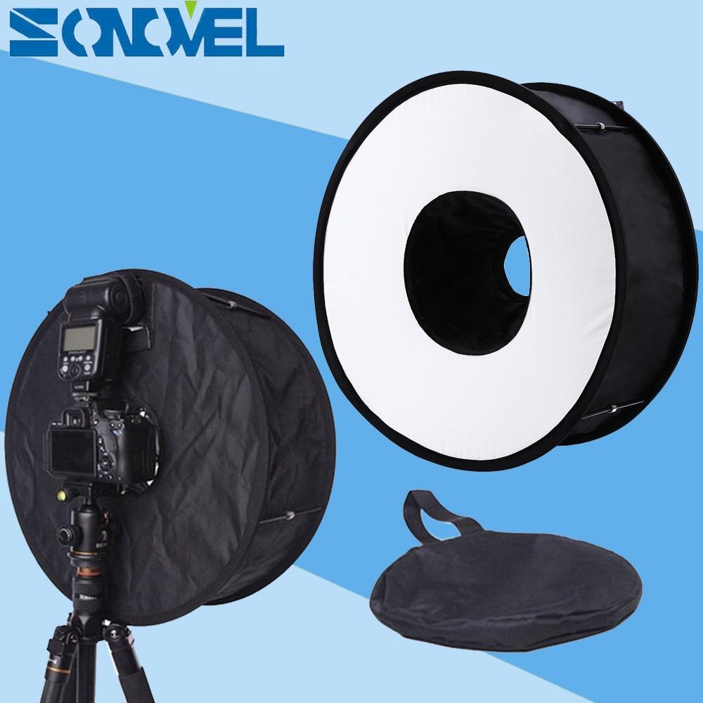 "Difusor de Flash Macro plegable Universal redondo de 18 ""/45cm para Canon Nikon 600EX-RT 580EX II 430EX SB910 SB900 SB700"