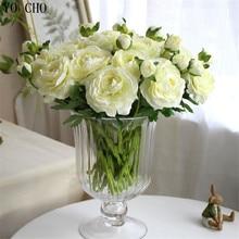 YO CHO 11 pcs/lot artificial peony bouquet flores artificiales rose flower silk flowers for home wedding autumn decoration