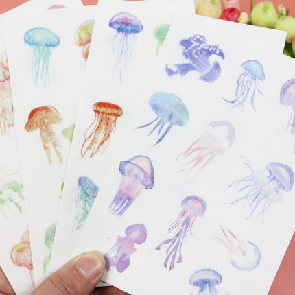 4 pcs/pack Jellyfish Dull Polish  Decorative Stickers Mobile Phone Stickers Stationery DIY Album Stickers