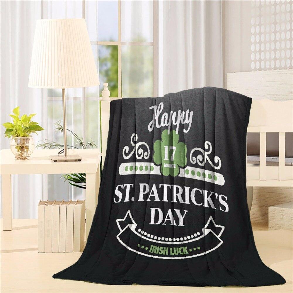 Diseño tipográfico de tiza para el Día de San Patricio franela tiro manta ligera cómoda cama sofá mantas tela súper suave