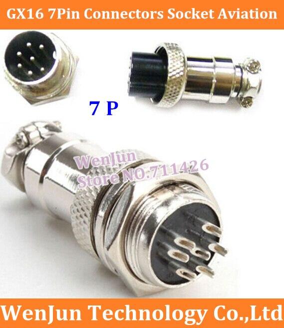 Envío Gratis GX16 GX 16 7 Pin 7 p conectores de conector enchufe de aviación 16mm macho y hembra