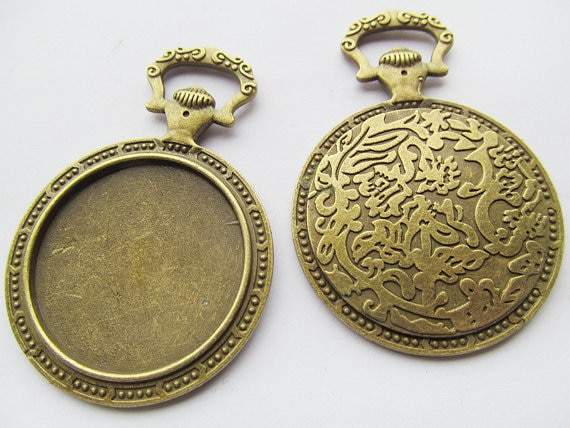 10pcs Large Antique Silver tone/Antique Bronze Vintage Pocket Watch Base Setting Pendant Charm,35mm Cabochon/Cameo Tray Bezel