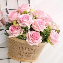 yumai 12 tête haute 35 cm roses roses bouquets de fleurs artificielles fête de mariage décoration