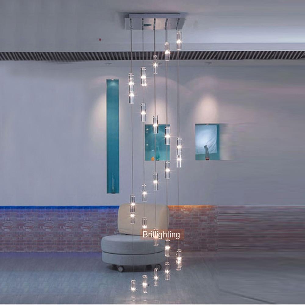الشمال معلقة الثريا الدرج الكريستال دوامة الثريا الحديثة LED الإضاءة سلم مصباح تعليق مصباح معلق درج