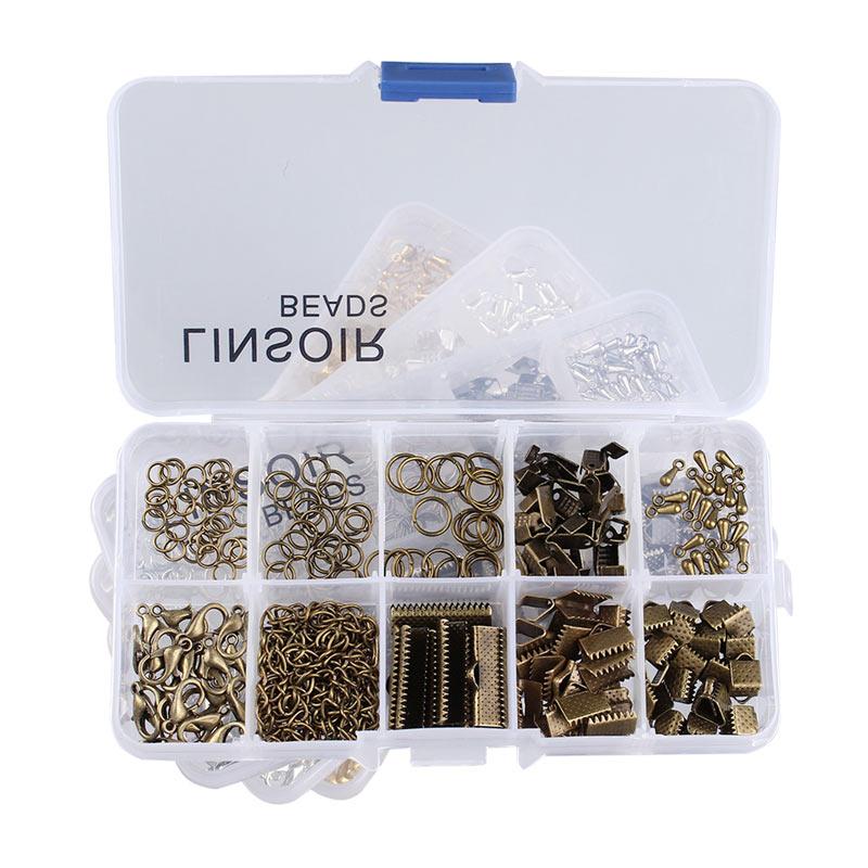 1Box 4 Farben Crimp Ende Verschlüsse Karabiner Jump Ringe Extender Ketten Ende Tröpfchen für Halskette Schmuck Machen Materialien