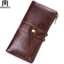 MISFITS 2019 new long wallet men genuine leather clutch purse with card holder money bag women porte