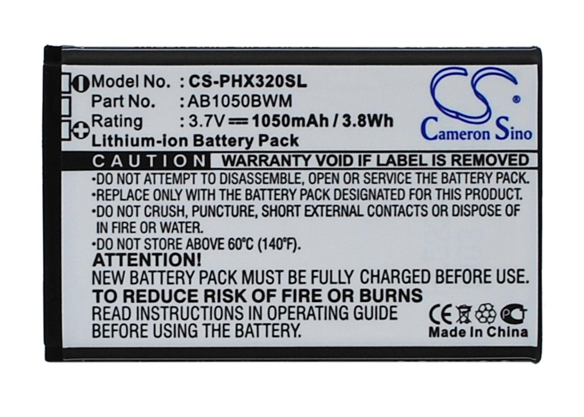 Аккумулятор Cameron Sino ab1050 мАч для Philips Xenium 312, Xenium 320, Xenium X186