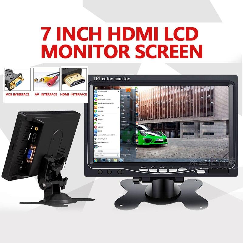 Full HD портативный монитор 7 дюймов TFT ЖК дисплей 1024x600 AV вход/VGA/HDMI пластиковый