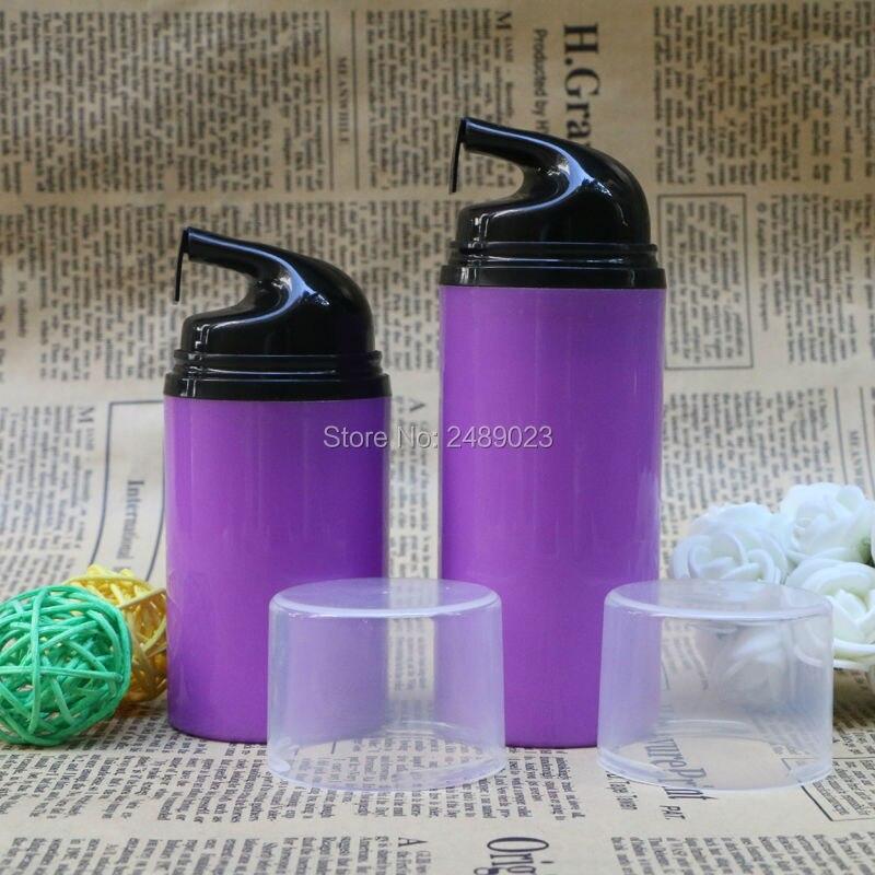 Botella transparente púrpura sin aire con cabeza negra de plástico vacío embalaje para botellas envases cosméticos 10 uds/lote 50ml 80ml