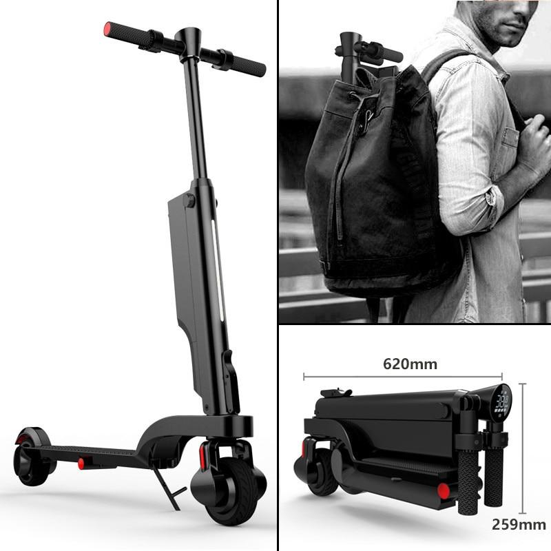 Mini monopatín eléctrico HX X6 de dos ruedas con Motor de Altavoz Bluetooth, bicicleta eléctrica plegable portátil de 200W y 24V para adultos