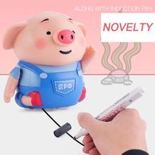 Suivez nimporte quelle ligne dessinée Binory magique cochon Robot stylo inductif cochon avec musique légère jouet éducatif intelligent