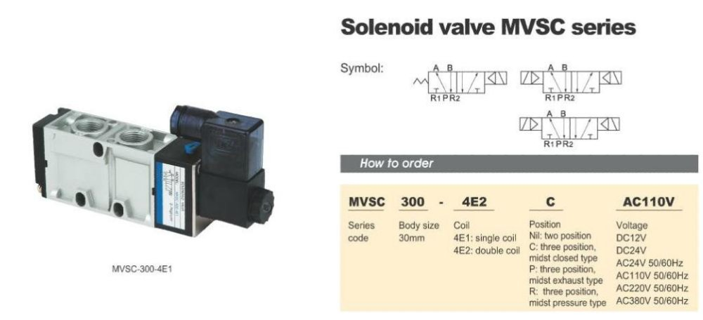 "MVSC300-4E2C 220V AC 5Port 3Pos 1/2"" BSP Solenoid Air Valve Dual Coil Led"