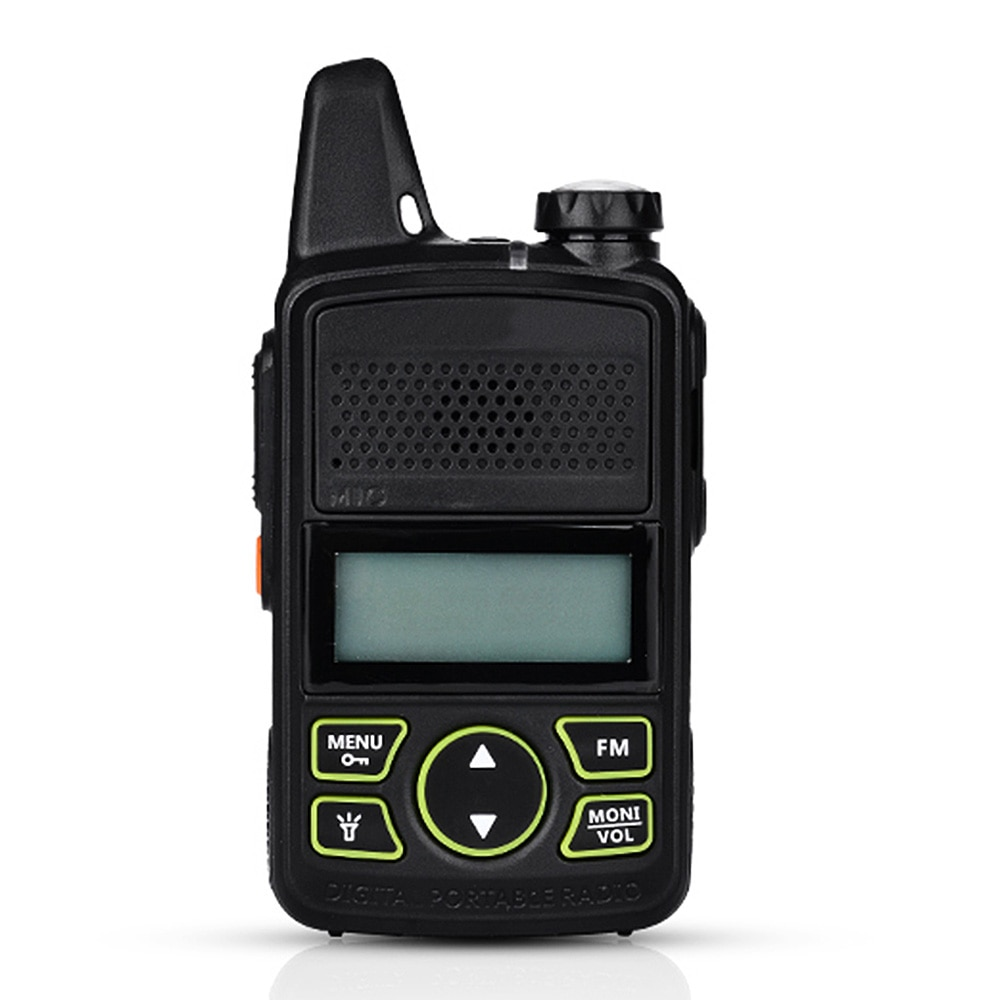 Nuevo MINI niños Walkie Talkie UHF portátil dos Radio FM función jamón T1 Walkie Talkie USB HF transceptor gran oferta