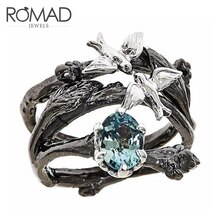 ROMAD oiseau en forme danneau ensemble bleu cristal cubique Zircon anneaux pour femmes hommes fiançailles anneaux de mariage bijoux anillos mujer R4
