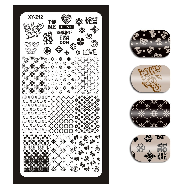 1Piece 32 Styles(01-32) Stamping Template Rectangle Flower Love Cartoon Floral Nail Art Image Plate Plates XYZ012#