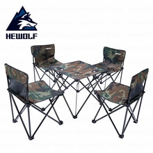 Hewolf Camping en plein air pliant Portable Tables chaises 4 siège 1 Table pique-nique Table chaises pêche en plein air pique-nique barbecue équipement