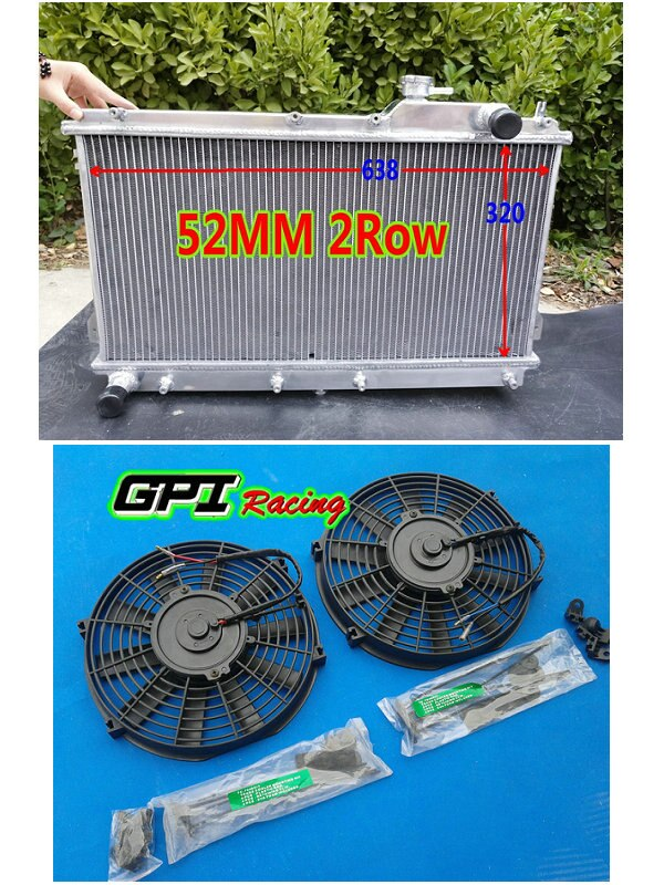 52MM para MAZDA MIATA MX5 99-05 MT radiador de aluminio + ventilador 00 01 02 03 04