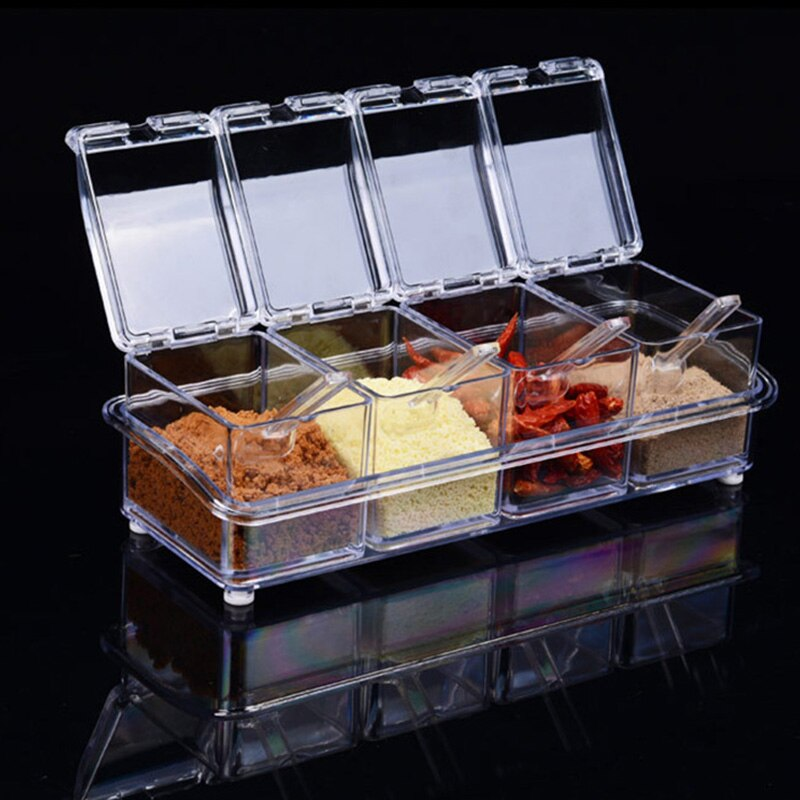 4 Piece/Set Hot Seasoning Jar Set Kitchen Condiment Box Acrylic Spices Storage Box Transparent Seasoning Boxes Storage Container