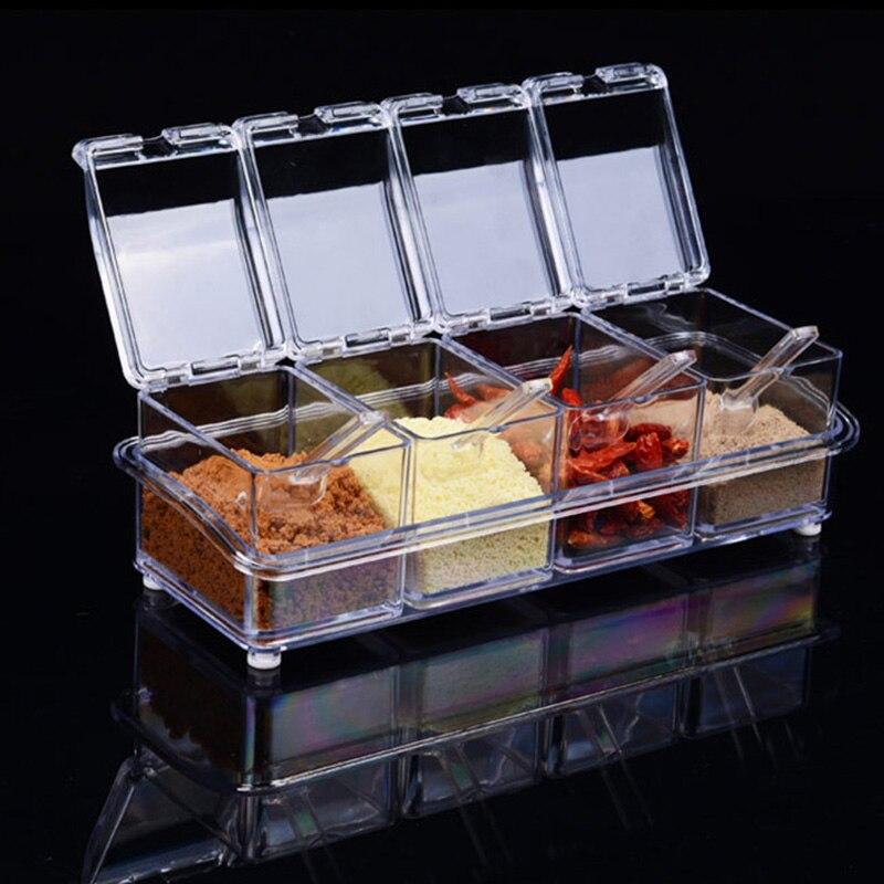 4 peças/set tempero quente jar conjunto caixa de condimento de cozinha acrílico especiarias caixa de armazenamento caixas de tempero transparente recipiente de armazenamento