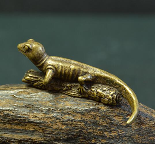 Estatua pequeña colección China lagarto arcaica de latón