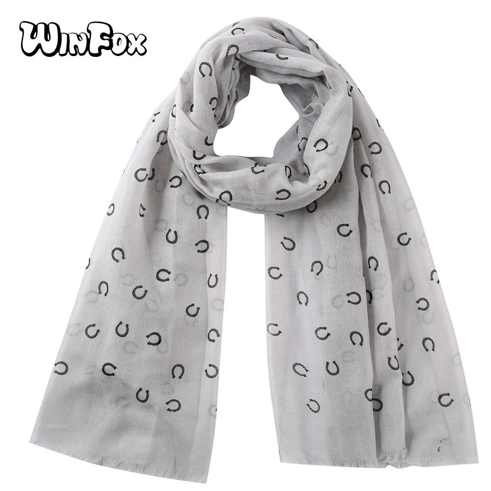 Женский шарф Winfox, серый, темно-синий шарф с буквенным принтом, шаль, осень-весна, 2019