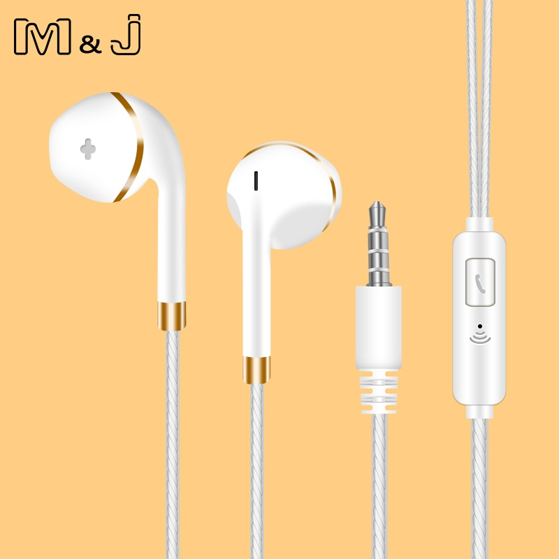 M & j fone de ouvido in-ear para iphone 6s 6 5 xiaomi mãos livres fone de ouvido baixo fones de ouvido estéreo para apple iphone samsung fone de ouvido