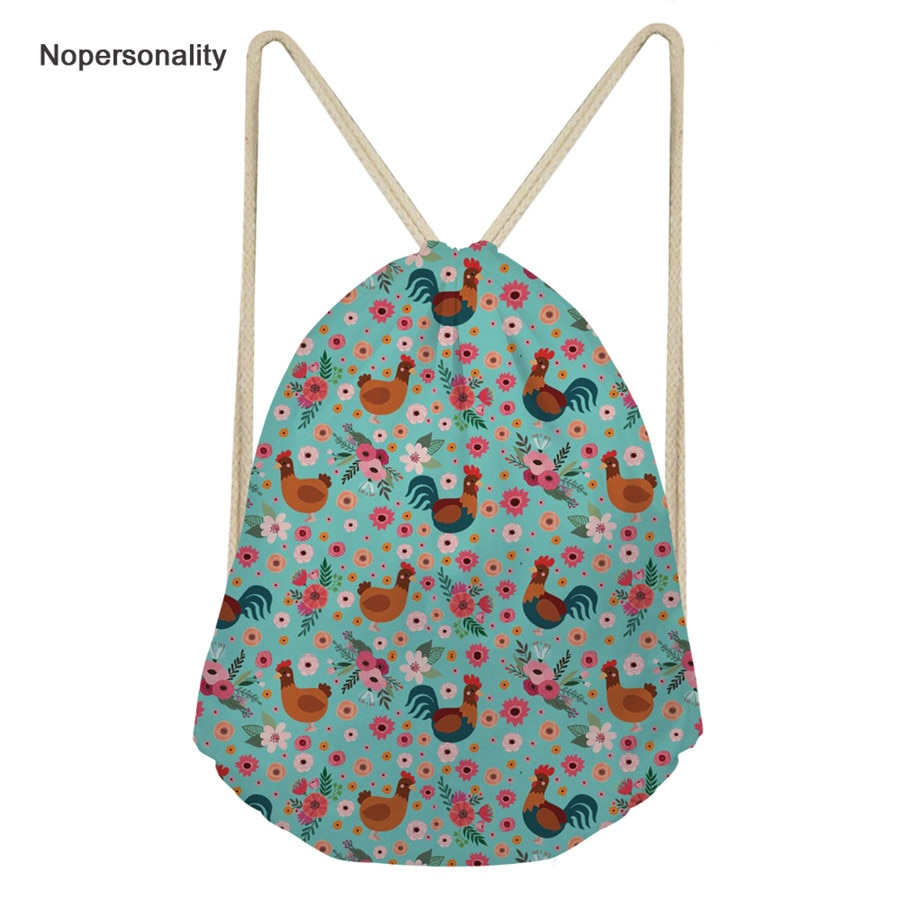 Bolsa para Mulheres Impressão de Galo Nopersonality Kawaii Drawstring Floral Mochila Escola Crianças Bagpack Diário Mochilas Bonitos