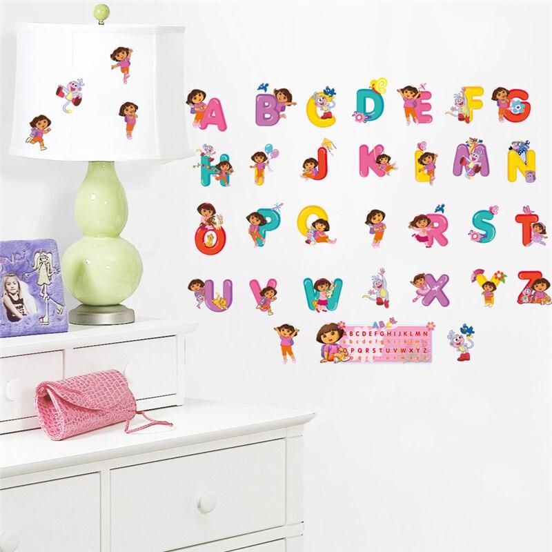 Дора Исследователь алфавит наклейки на стену детская комната украшение дома Diy мультфильм Nursey росписи искусство английская стена для писем...