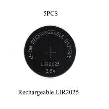 Sorvess 5 uds 30mAH LIR2025 Lithiium lir Ion batería recargable 3,6 V Botón de iones de litio pila de La Moneda reemplazar para CR2025 CR 2025