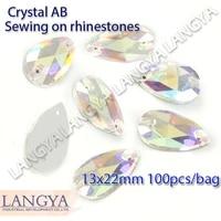 upriver 2 holes 13x22mm more shiny loose stones tea drop wholesale flatback crystal ab sewing rhinestones