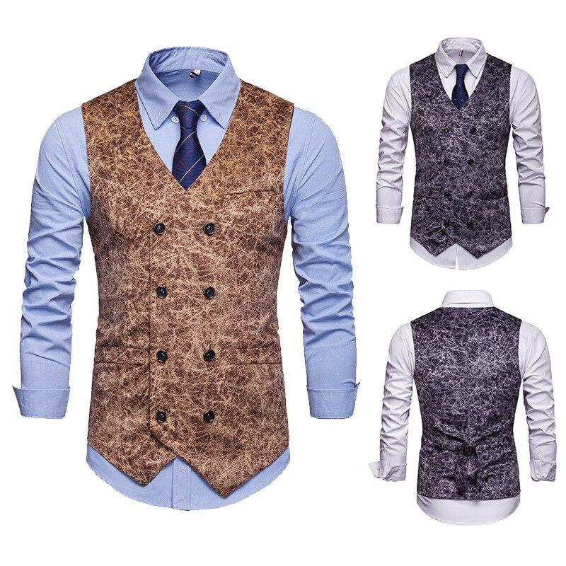 Chaleco para hombre versión europea de leopardo estampado salón chaqueta de negocios chaleco hombres