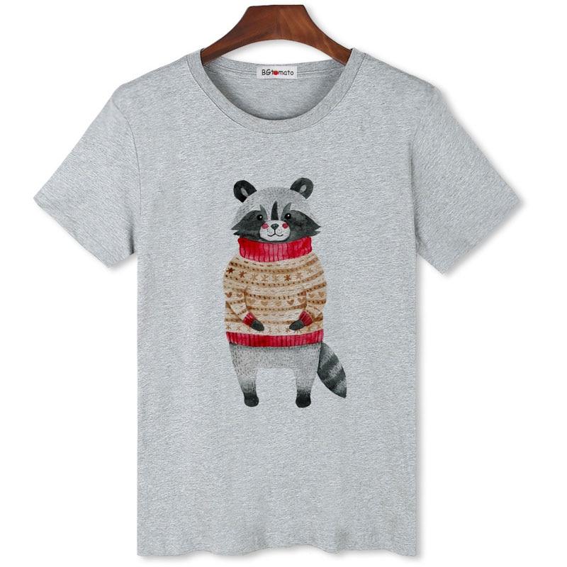 Camiseta BGtomato de mapache de dibujos animados, divertida camiseta de anime, camiseta gótica de gran tamaño, gran oferta, camiseta para hombre, camisetas divertidas de mapache