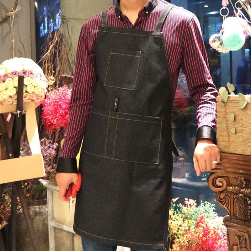 Синий, черный джинсовый фартук, Цветочный художник, садовник, художник, парикмахер, одежда для работы, бармен, бистро, Бейкер, Униформа, печат...