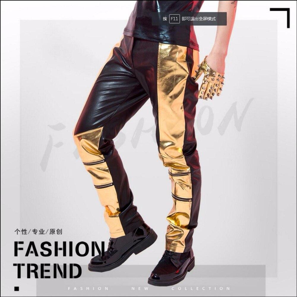 27-38 nuevos pantalones de talla grande para hombre, pantalones de cuero brillante de retales Ds, pantalones de piel rectos, pantalones de baile de Jazz, trajes de cantante de escenario Masculino