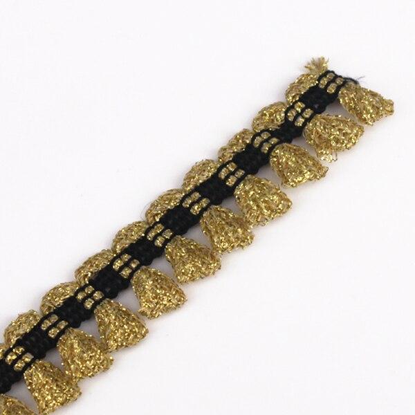 Artesanía trenzada dorada decorada franja de encaje y borlas aplique de cinta...