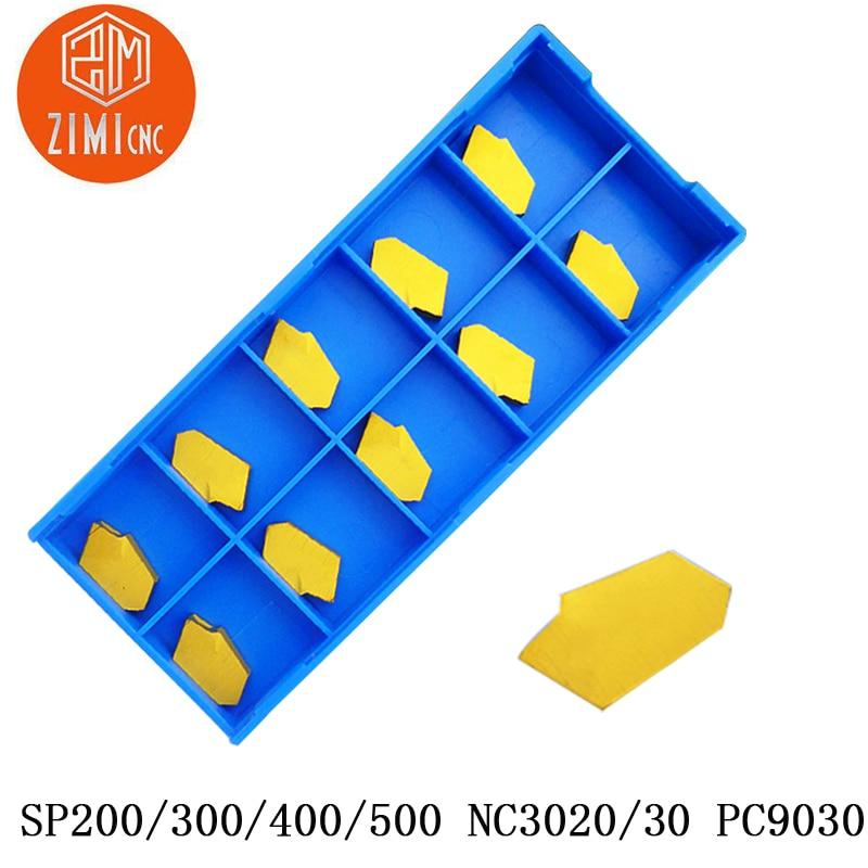 10 Uds SP200 SP300 SP400 NC3020 30 PC90 insertos de carburo de tungsteno herramienta de torno de CNC ranurado de corte insertos de carburo