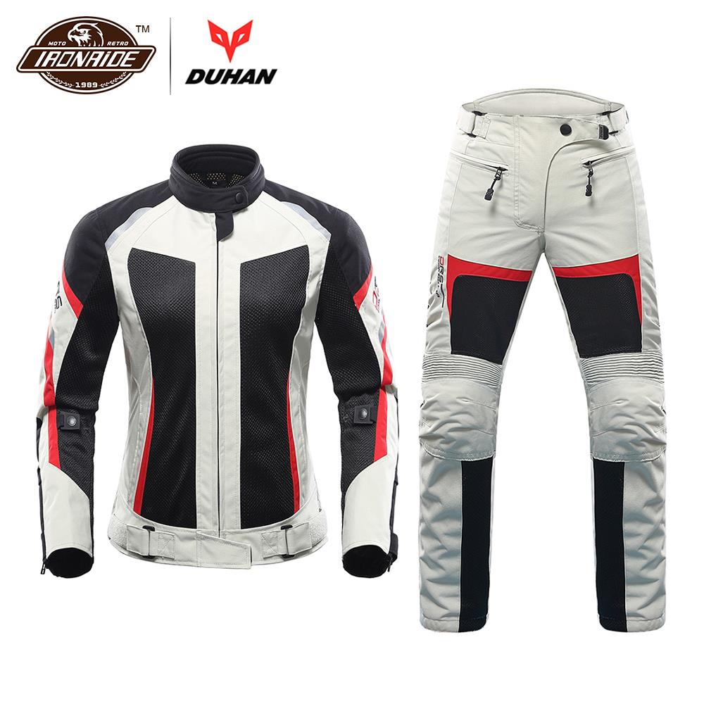DUHAN Motorcycle Jacket Summer Motorcycle Pants Suit Jacket Moto Breathable Mesh Touring Motorbike Clothing Set for Women