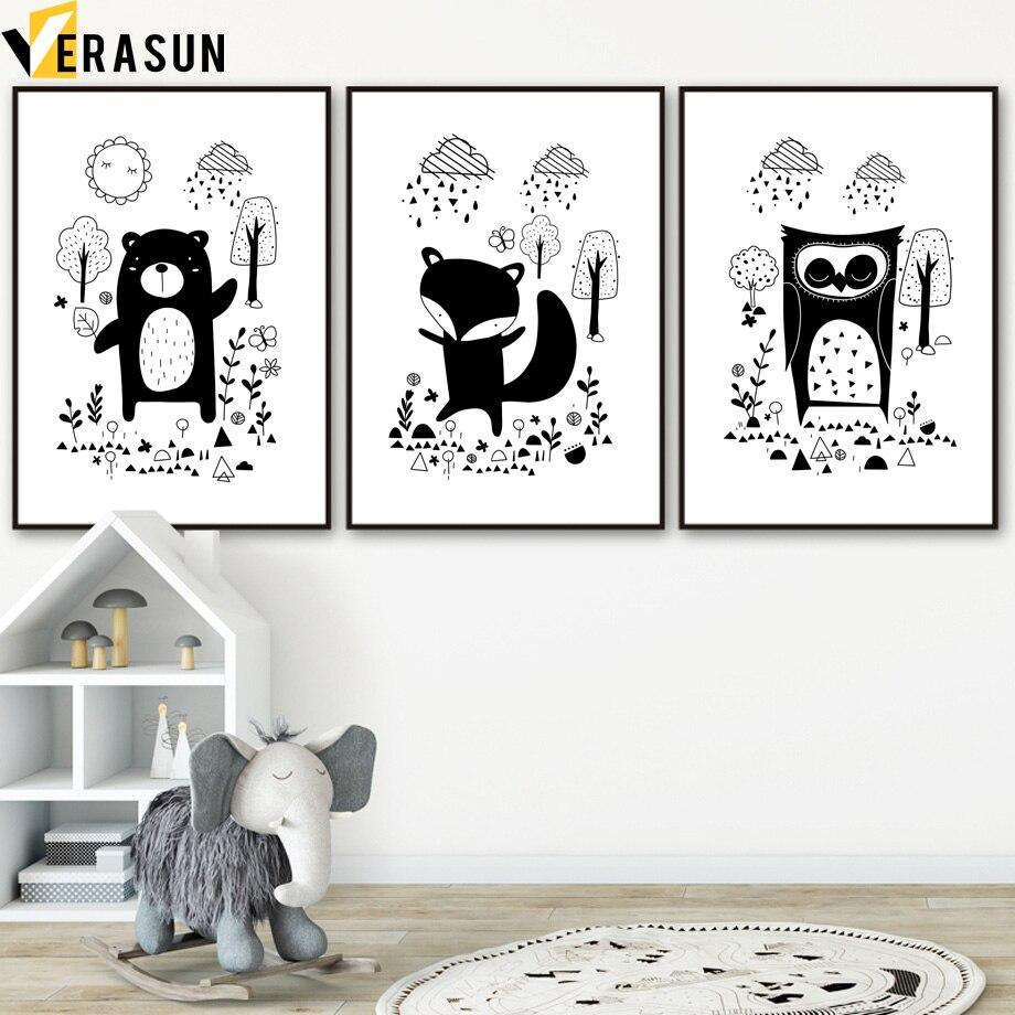 Cuadro sobre lienzo para pared con dibujo de oso zorro búho sol lluvia árbol blanco negro sobre lienzo carteles nórdicos e impresiones cuadros de pared decoración de habitación de niños