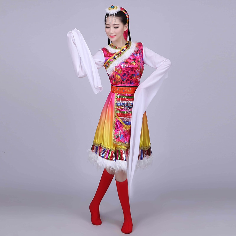 Nuevos trajes de baile tibetano para adultos, traje tibetano de manga de agua, traje mongol, vestido de grupo de danza para mujeres