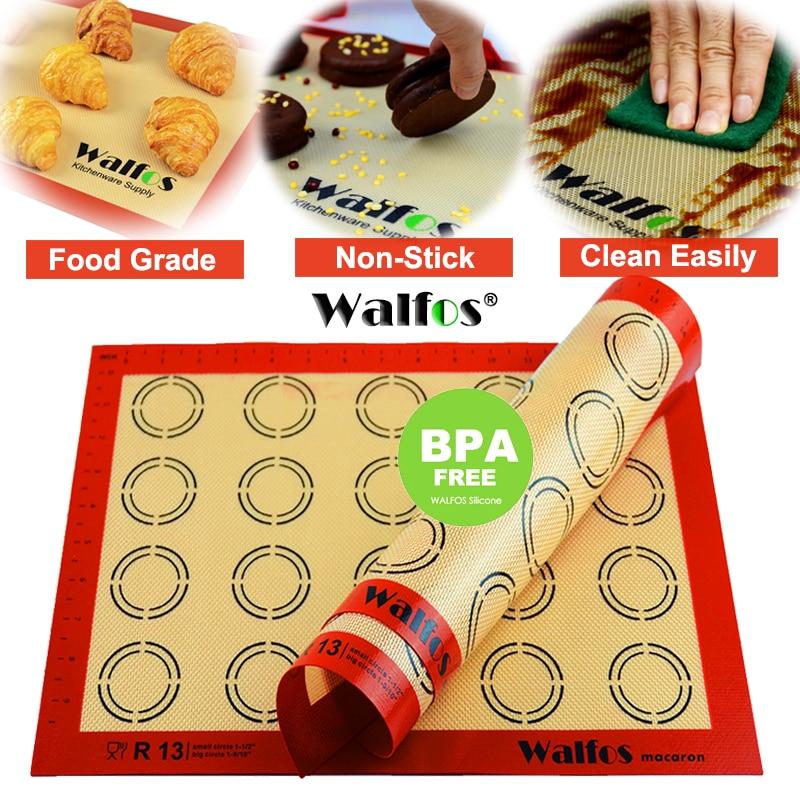 WALFOS Non-Stick Silicone Baking Mat Pad Sheet Baking pastry tools Rolling Dough Mat Large Size for Cake Cookie Macaron