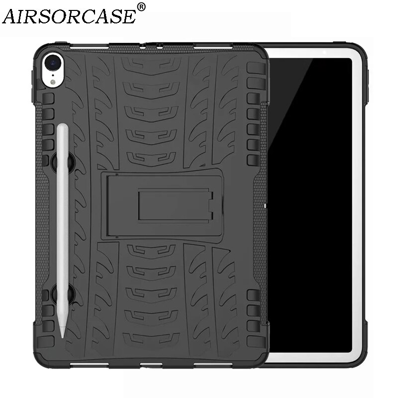 Com Pena Slot 11 para Apple iPad Pro 11 2018 Tablet da Tampa Do Caso Armadura Rugged Hard Shell PC & TPU Híbrido Kickstand Back Cover