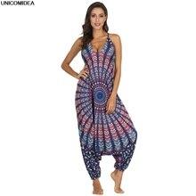 2020 ethnique Mandala combinaisons femmes Spaghetti sangle bohème gitane Thai vêtements barboteuses vacances plage combinaisons Mujer combishorts